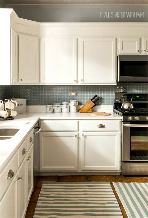 kitchen colors for white cabinets builder grade kitchen makeover with white paint 8221