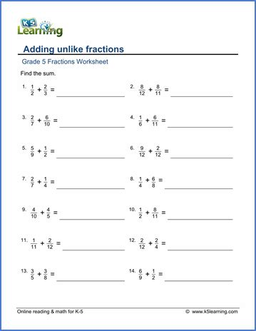 fractions 5th grade grade 5 addition subtraction of fractions worksheets free printable k5 learning