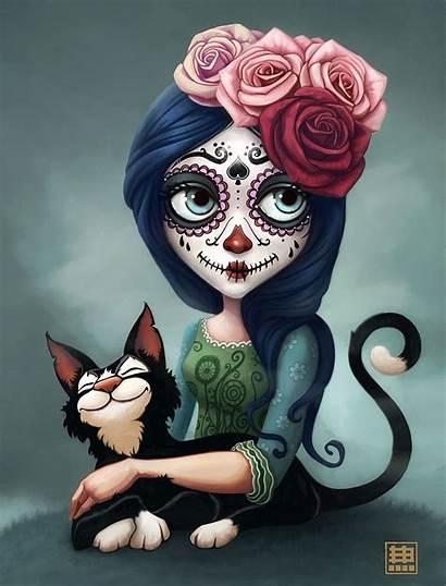 Catrina Cat Skull Sugar Artstation Dead Eduardo