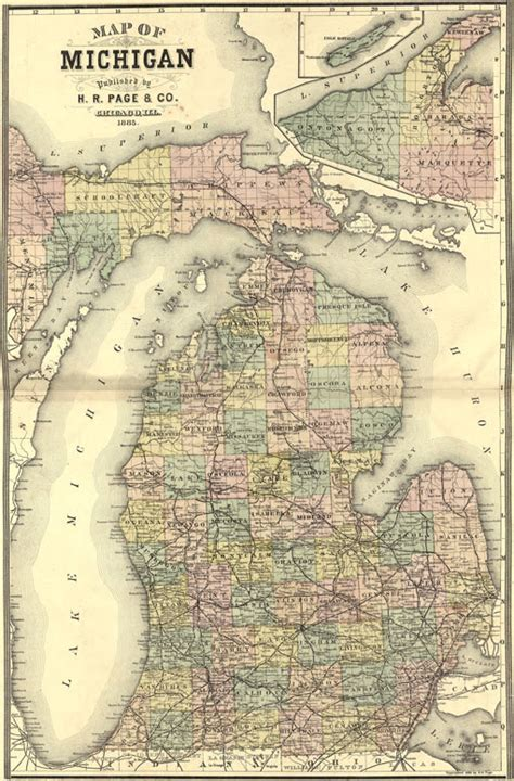 michigan state    page historic map reprint