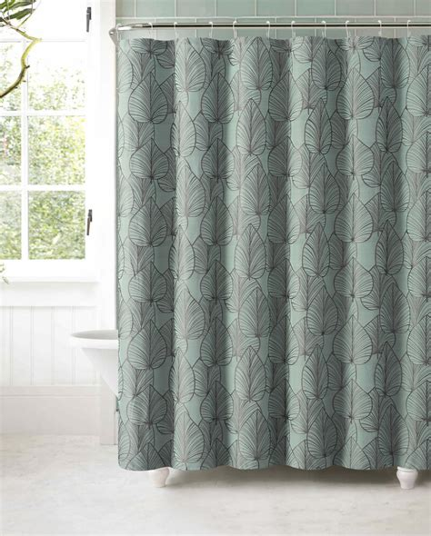Shower Curtain Gray by Slate Blue Jacquard Fabric Shower Curtain Gray Textured