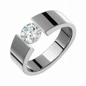 6mm Titanium Cubic Zirconium Ring Tension Set Wedding Band ...