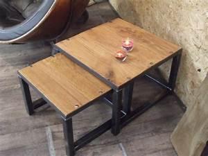 Table Salon Gigogne : table basse gigogne en bois et m tal industriel micheli design ~ Dallasstarsshop.com Idées de Décoration