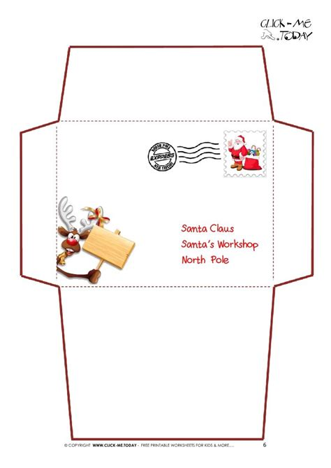 printable letter  santa claus envelope template