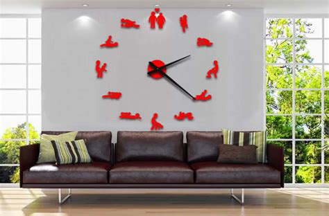 diy  adhesive sex position wall clock feelgift