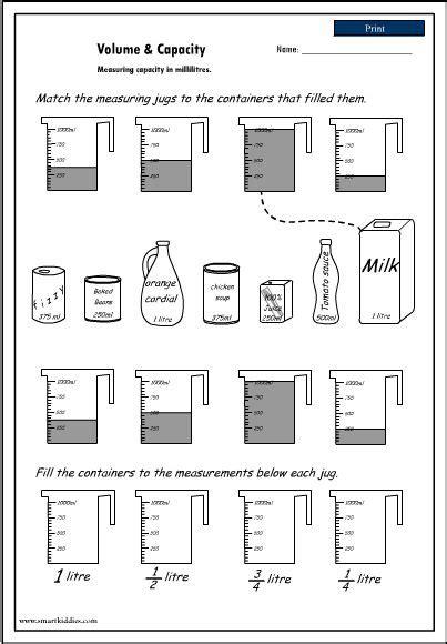 volume and capacity worksheet homeschool stuff