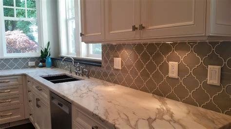 Large White Tiles For Bathroom by Arabesque Glass Mosaic Tile Backsplash Traditional