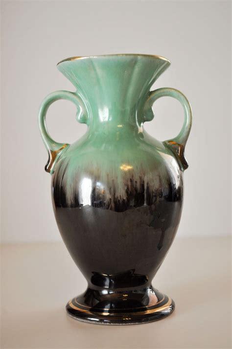 vintage mint green  brown bud vase bay keramik