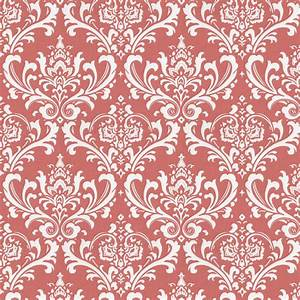 Coral Damask Fabric by the Yard | Coral Fabric | Carousel ...