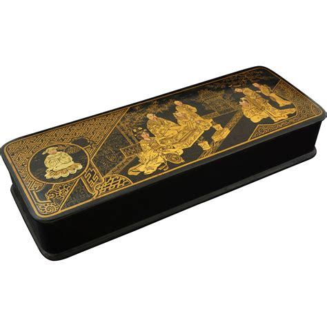 japanese papier mache lacquer rectangular hinged lid box