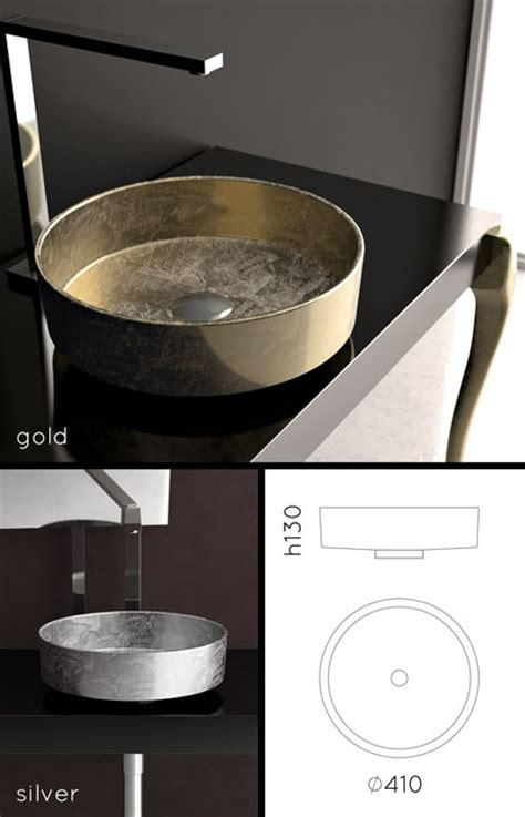 gold sinks gold silver basins  counter tops