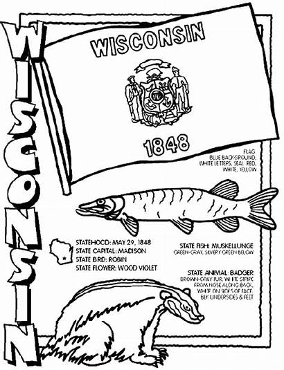 Wisconsin Coloring Pages State Crayola States Facts