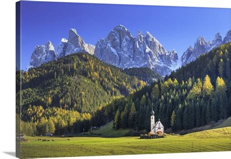 Italy Val Di Funes Ranui Church With Puez Odle Dolomites