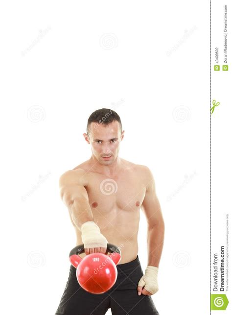 kettlebell holding weight lifting athletic preview