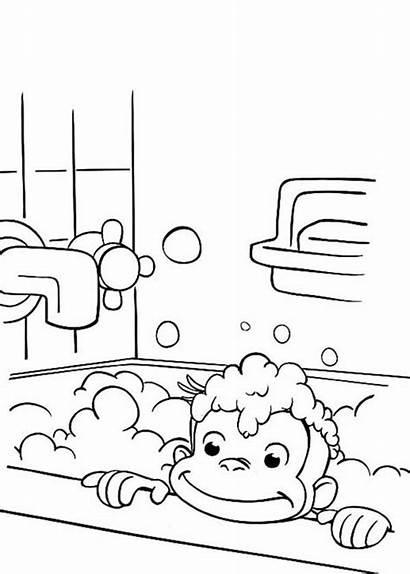 Curious George Coloring Bathtub Netart