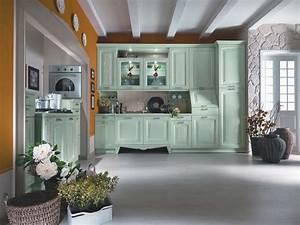 muebles, de, cocina, de, color, verde