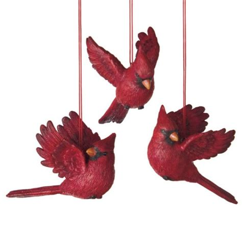 flying red cardinal bird christmas ornaments set