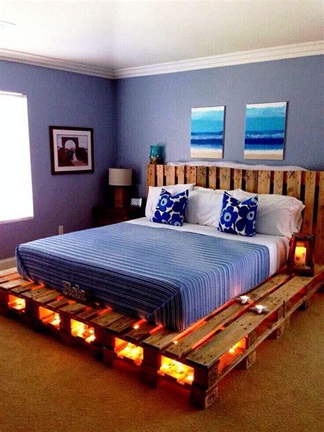 homemade pallet bed   lighting diy pallet