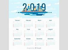 Plantilla moderna de calendario de 2019 con diseño plano