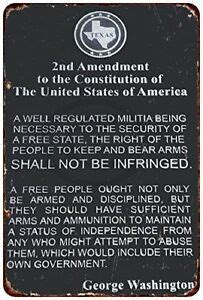 """And their safety and interest require that they should promote such manufactories as tend to render them independent of. The 2nd Amendment George Washington Rustic Retro Metal Sign 8"""" x 12"""" 