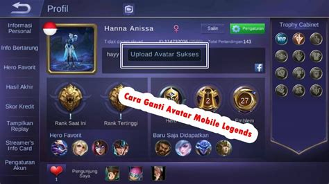 profil mobile legend cara mengganti foto profil mobile legends