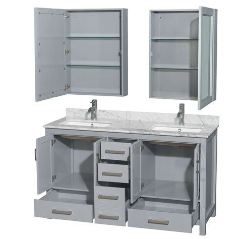 Accmilan 60 inch Transitional Grey Finish Double Sink