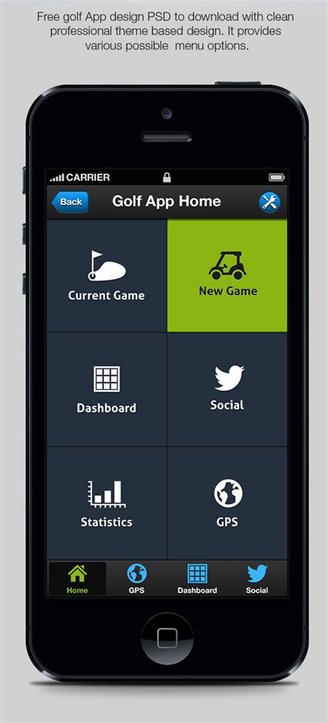 app golf design template free psd files for ui ux design freebies graphic