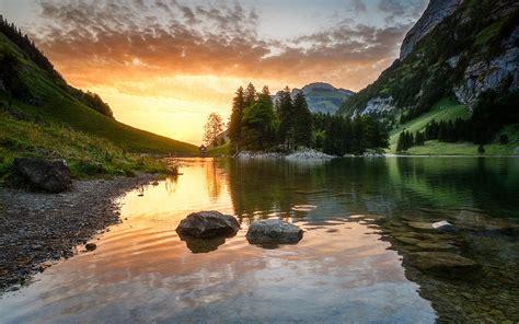 seealpsee lake   alpstein range   canton