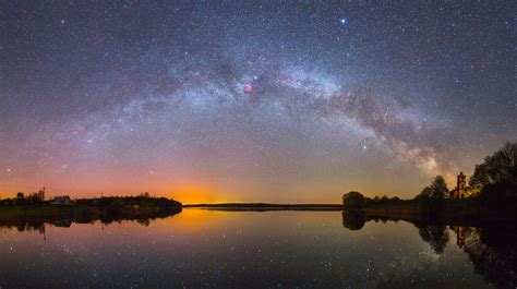 Bright Milky Way Over The Lake At Night Hd Free Foto