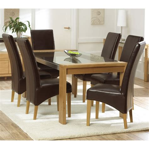 arturo oak glass top dining table and 4 roma dining chairs