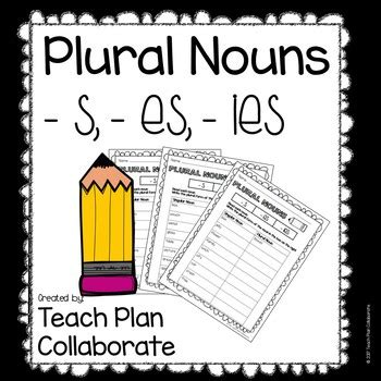 plural noun worksheets  es  ies  teach plan