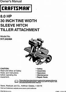 Craftsman 917242484 User Manual 8 H P  Tiller Attachment