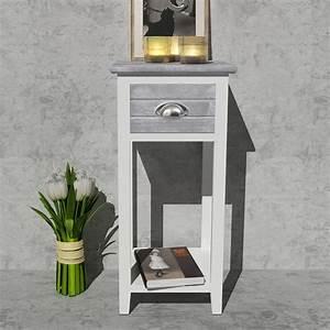 Nachttisch Mit Schublade : nachttisch telefontisch mit 1 schublade grau wei g nstig kaufen ~ Frokenaadalensverden.com Haus und Dekorationen