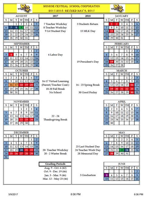 corporation calendar monroe central school corporation