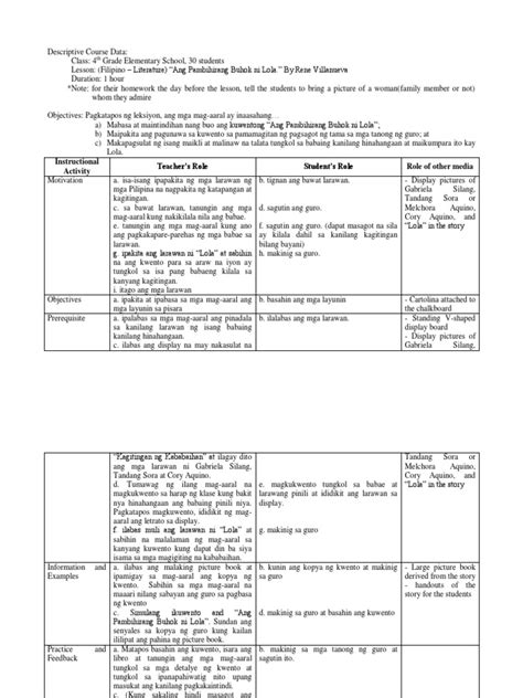sample filipino lesson plan  elementary