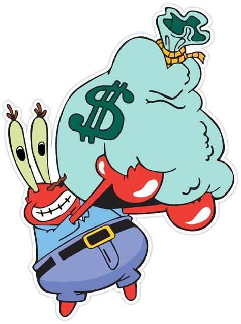 Mr Krabs Spongebob Sponge Bob Money Funny Vinyl Sticker