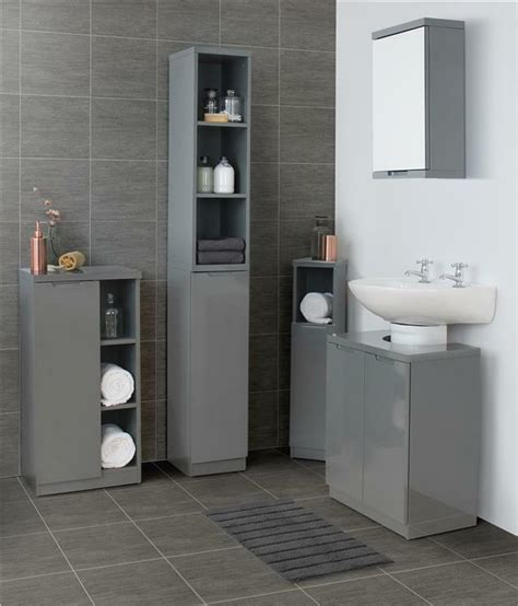 Grey Bathroom Cupboard by Grey Gloss Bathroom Furniture Range Storage Cabinet