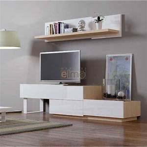 Meuble TV design contemporain Bois laqué Blanc NATURAL