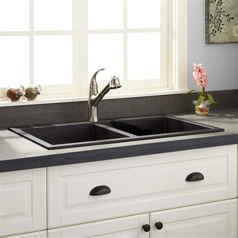 black kitchen sinks for sale 34 quot townsend double bowl drop in granite composite sink