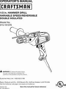 Craftsman 315101370 User Manual Hammer Drill Manuals And