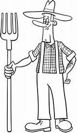 Granjero Colorear Dibujo Fermier Cartoon Boer Kleurplaat Desenho Dessin Fazendeiro Coloring Dibujos Coloriage Premium Pitchfork Vector Farmer Colorare Animador Contadino sketch template