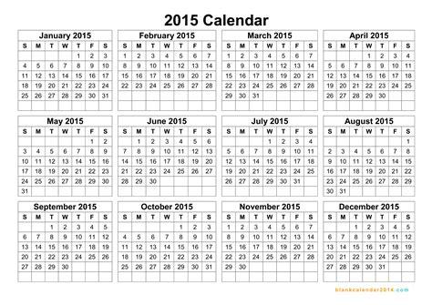 Yearly Calendar Template 2015 Costumepartyrun