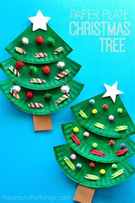 paper plate tree craft 173 | paper plate christmas tree pin