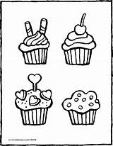 Cupcakes Colouring Bakery Drawing Kiddicolour Pages sketch template
