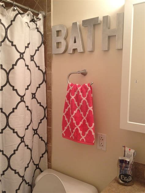 spray painted hobby lobby letters tj maxx shower curtain  towel    pinterest