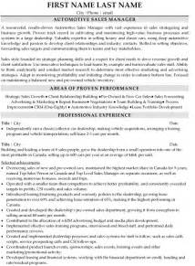 auto sales manager duties resume sales manager resume sle template
