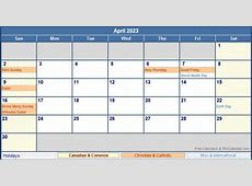 April 2023 Canada Calendar with Holidays for printing