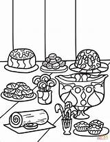 Coloring Desserts Zentangle sketch template