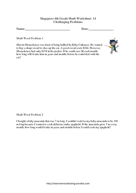 singapore  grade math challenging word problems