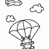 Hippo Coloring Skydiving Netart sketch template